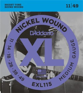 Struny D'Addario EXL115 Nickel Wound Blues-Jazz Rock 11-49