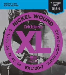 Struny D'Addario EXL120-7 Nickel Wound Super Light 7-strings 9-54