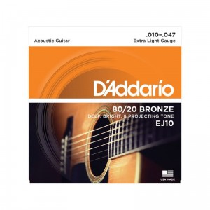 Struny D'Addario EJ10 80/20 Bronze Acoustic Guitar Strings, Extra Light, 10-47