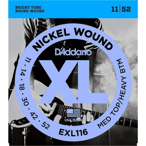 Struny D'Addario EXL116 Nickel Wound Medium Top/Heavy Bottom 11-52