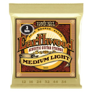 3 x Struny Ernie Ball Earthwood Medium Light  Acoustic 80/20 Bronze 12-54 (3003)