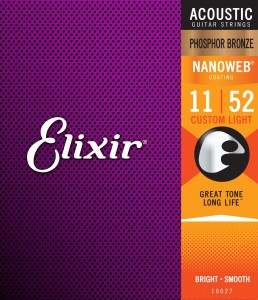 Struny Elixir NanoWeb Phosphor Bronze 11-52 Custom Light (16027)