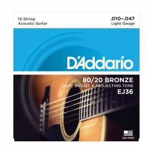 Struny do gitary 12-strunowej D'Addario EJ36 80/20 Bronze Acoustic Light 10-47