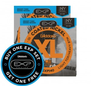 2 x Struny D'Addario Coated Nickel Wound Light Top Heavy Bottom 10-52 EXP140