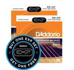 2 x Struny D'Addario EXP15 Coated Phosphor Bronze Extra Light 10-47