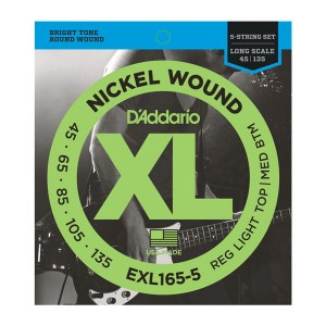 Struny D'Addario EXL165-5 Nickel Wound 5-String Bass, Custom Light, 45-135, Long Scale