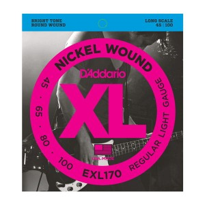 Struny D'Addario EXL170 Nickel Wound Bass Light 45-100 Long Scale