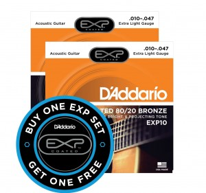 2 x Struny D'Addario EXP10 Coated 80/20 Bronze Extra Light 10-47