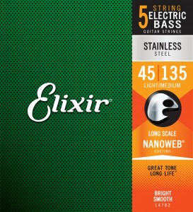 Struny Elixir NanoWeb 5-String 45-135 Light/Medium, Long Scale / Stainless Steel (14782)