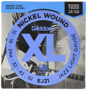 Struny D'Addario EJ21 Nickel Wound Jazz Light Gauge Wound 3rd 12-52
