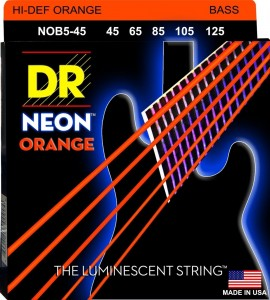 Struny DR Neon™ Hi-Def Orange Bass K3 Coating 45-125 5-string (NOB5-45)