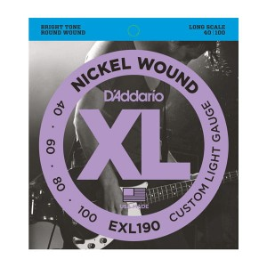 Struny D'Addario EXL190 Nickel Wound Bass Custom Light 40-100 Long Scale