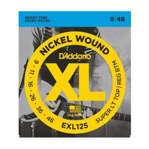 Struny D'Addario EXL125 Nickel Wound Super Light Top/Regular Bottom 9-46
