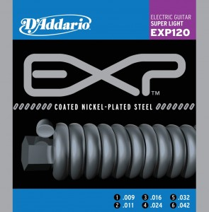 Struny D'Addario  EXP120 Coated Nickel Wound Super Light 9-42