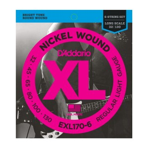 Struny D'Addario EXL170-6 Nickel Wound 6-String Bass, Light, 32-130, Long Scale