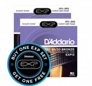 2 x Struny D'Addario EXP13 Coated 80/20 Bronze Custom Light 11-52
