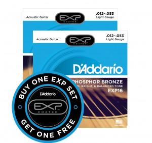 2 x Struny D'Addario EXP16 Coated Phosphor Bronze Light 12-53