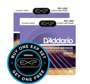 2 x Struny D'Addario EXP26 Coated Phosphor Bronze Custom Light 11-52
