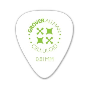 Kostka gitarowa Grover Allman Celluloid Pro White 0.81mm