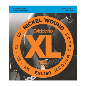 Struny D'Addario EXL160 Nickel Wound Bass, Medium, 50-105, Long Scale