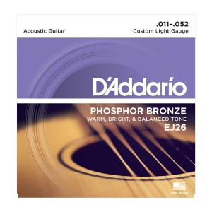 Struny D'Addario EJ26 Phosphor Bronze, Custom Light, 11-52