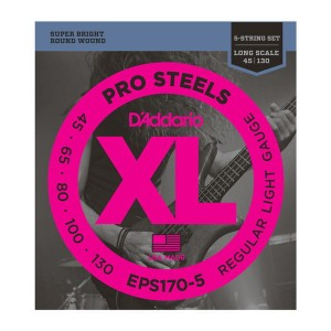 Struny D'Addario EPS170-5 ProSteels 5-String Bass Light  Long Scale 45-130