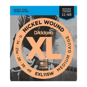 Struny D'Addario EXL115W Nickel Wound Medium/Blues-Jazz Rock Wound 3rd 11-49