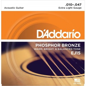 Struny D'Addario EJ15 Phosphor Bronze, Extra Light, 10-47