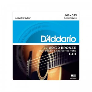 Struny D'Addario EJ11 80/20 Bronze Acoustic Guitar Strings, Light, 12-53