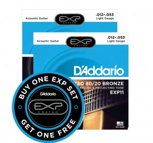 2 x Struny D'Addario EXP11 Coated 80/20 Bronze Light 12-53