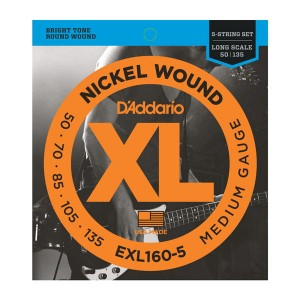 Struny D'Addario EXL160-5 Nickel Wound 5-String Bass, Custom Light, 50-135, Long Scale