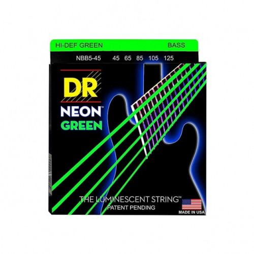 Struny DR Neon™ Hi-Def Green Bass K3 Coating 45-105