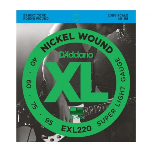 Struny D'Addario EXL220 Nickel Wound Bass, Super Light, 40-95, Long Scale