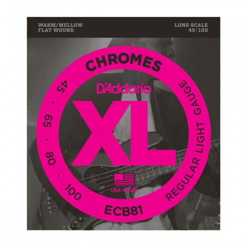 Struny D'Addario ECB81 Chromes Bass Light 45-100 Long Scale