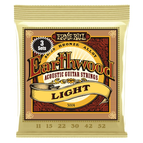 3 x Struny Ernie Ball Earthwood Light Acoustic 80/20 Bronze 11-53 (3004)
