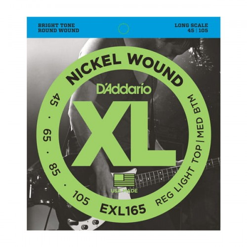Struny D'Addario EXL165 Nickel Wound Bass, Custom Light, 45-105, Long Scale