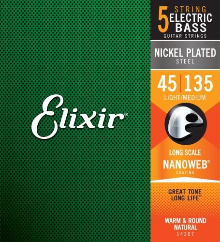 Struny Elixir NanoWeb 5-String 45-135 Light/Medium Long Scale (14207)