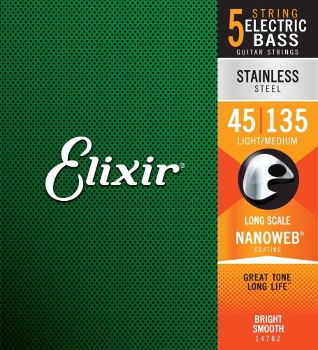 Struny Elixir NanoWeb 5-String 45-135 Light/Medium, Long Scale / Stainless Steel (14782)