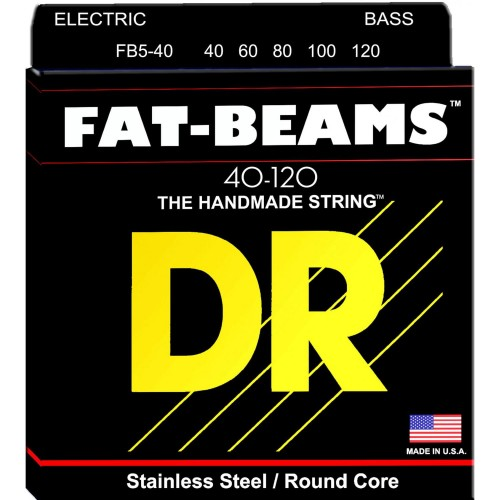 Struny DR Fat-Beams™ Bass Stainless Steel Round Core 40-120 5-strings (FB5-40)