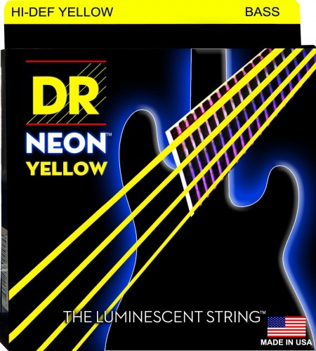 Struny DR Neon™ Hi-Def Yellow Bass K3 Coating 45-105 (NYB-45)