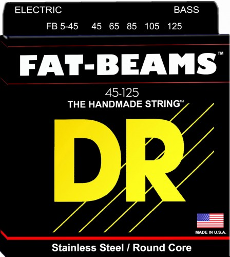 Struny DR Fat-Beams™ Bass Stainless Steel Round Core 45-125 5-strings (FB5-45)
