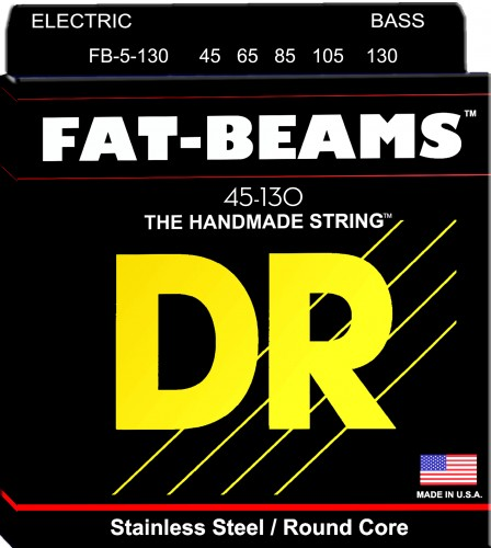 Struny DR Fat-Beams™ Bass Stainless Steel Round Core 45-130 5-strings (FB5-130)
