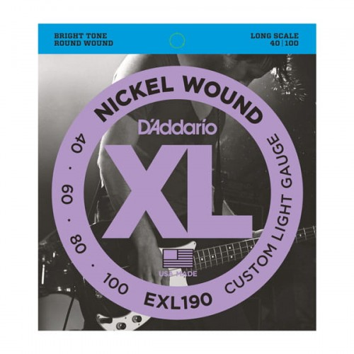 Struny D'Addario EXL190 Nickel Wound Bass Custom Light 40-100 Long Scale