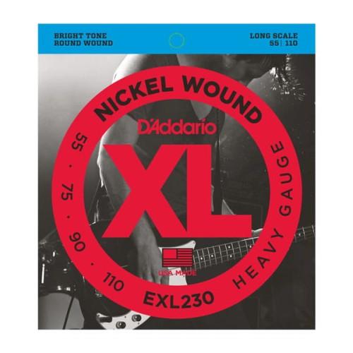 Struny D'Addario EXL230 Nickel Wound Bass, Heavy, 55-110, Long Scale