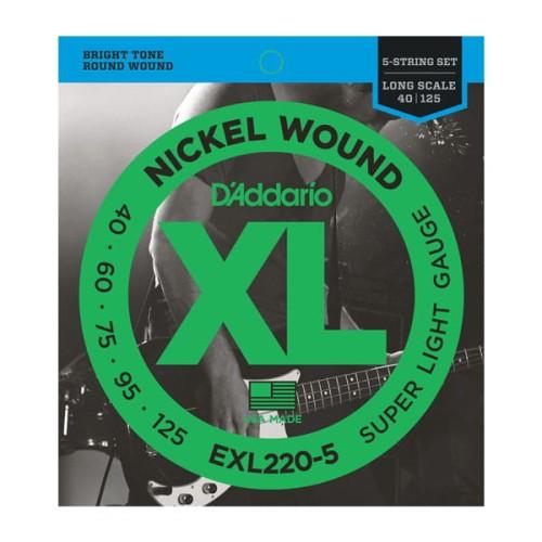 Struny D'Addario EXL220-5 Nickel Wound 5-String Bass, Super Light, 40-125, Long Scale
